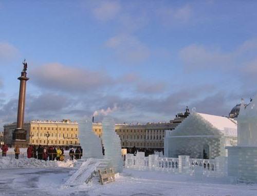 Construcción del Palacio de Hielo en San Petesburgo